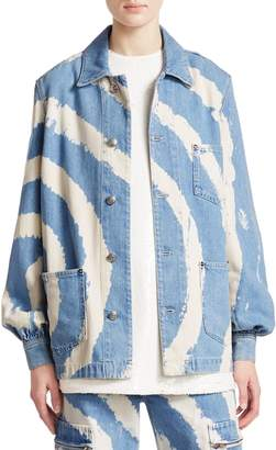 Ganni Blackstone Oversized Boyfriend-Fit Washed Denim Jacket