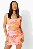Thumbnail for your product : boohoo Tie Dye Wrap Cut Out Waist Strappy Mini Skirt