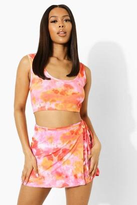 boohoo Tie Dye Wrap Cut Out Waist Strappy Mini Skirt