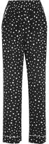 Dolce & Gabbana Polka-dot Silk-blend Wide-leg Pants - Black