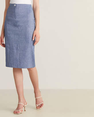 Anna Seravalli Denim Blue Linen Pencil Skirt
