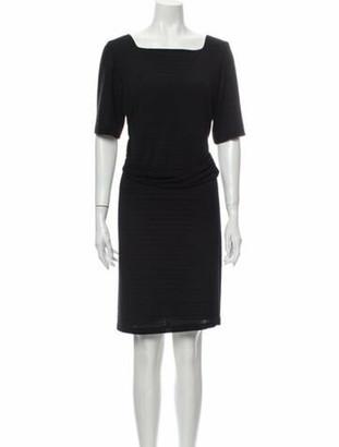 Oscar de la Renta Square Neckline Mini Dress Black