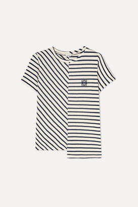 Loewe Asymmetric Embroidered Striped Cotton-jersey T-shirt - Navy