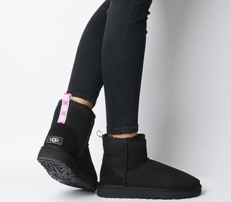 UGG Classic Mini Grapghic Logo Boots Black Neon Pink