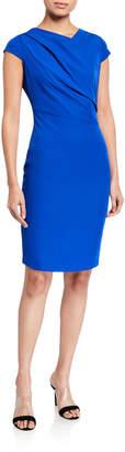 Neiman Marcus Asymmetric Cap-Sleeve Sheath Dress