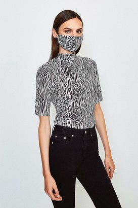 Karen Millen Short Sleeved Print Funnel Top With Fashion Mask