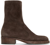 Maison Margiela Brown Suede Zip Boots