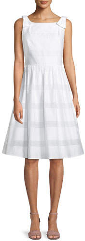 Kate Spade Chesapeake Stripe Midi Dress W/ Bow Shoulders