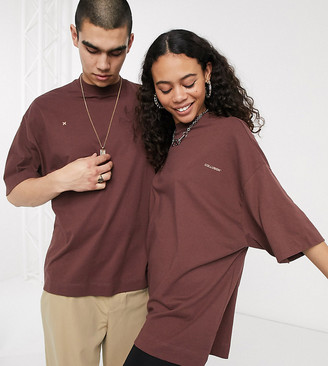 Collusion Unisex oversized t-shirt with logo print in dark brown