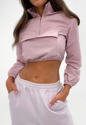 Missguided Pink Shell Suit Front Pocket Cropped Jacket