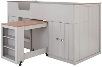 Atlanta Mid Sleeper Bed with Desk,Storage and Mattress Options (Buy and SAVE!)- Grey