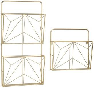 "Willow Row Geometric Gold Metal Wall Mail Organizer - Set Of 2: 15"" - 30"""