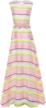 DELPOZO Belted Embellished Striped Organza Gown