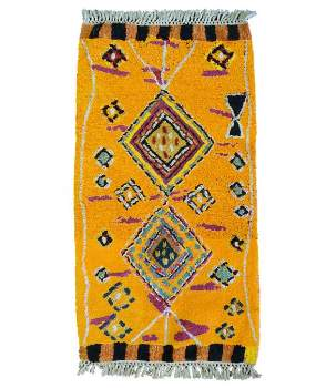 Gall' Art Deco - Mustard Yellow Wool Rug with Berber - mustard yellow   wool - Mustard yellow