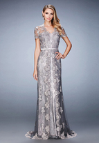 La Femme 21897 Short Sleeved Lace Embroidered Evening Gown