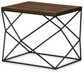 Baxton Studio Stilo Rustic Industrial Style Antique Textured Finished Metal Distressed Wood Occasional End Table - Black