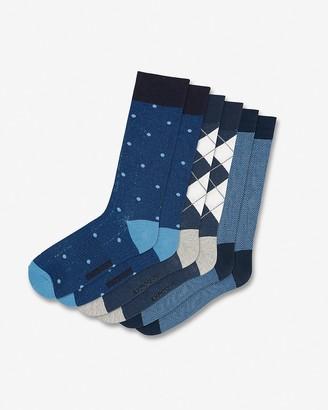 Express 3 Pack Blue Mixed Print Dress Socks