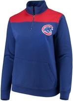 Majestic Women's Royal Chicago Cubs Plus Size Sequin Wordmark Quarter-Zip Pullover Jacket