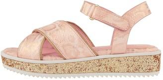 Monsoon Girls Snake Shimmer Glitter Flatform Sandal - Pale Pink