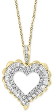 "Effy Diamond Heart 18"" Pendant Necklace (1/2 ct. t.w.) in 14k Gold & Rhodium"