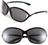 Tom Ford Women's Jennifer 61Mm Polarized Open Temple Sunglasses - Shiny Black/ Grey Polarized
