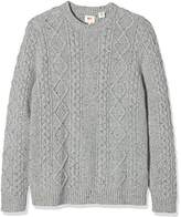 Levi's Men's FISHERMAN CABLE CREW Sweatshirt, Grey (C18710 FISHERMAN NOVETEX FLANNEL SWEATER MS152003_04), Medium