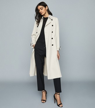 Reiss Pixie - Pleat Detailed Trench Coat in Stone