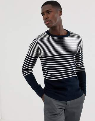 Selected knitted stripe sweater-Navy