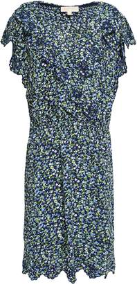MICHAEL Michael Kors Wrap-effect Embroidered Floral-print Crepe Mini Dress