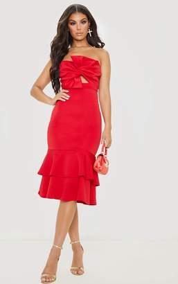 PrettyLittleThing Red Scuba Bow Detail Frill Hem Midi Dress