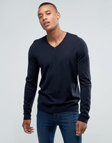 Asos V-Neck Sweater in Navy