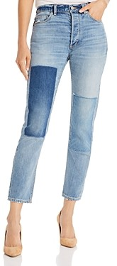 Rebecca Taylor La Vie Beatrice Cropped Straight-Leg Jeans in Rustine Patch Wash