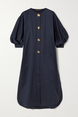 Oscar de la Renta - Embellished Stretch-cotton Tunic - Blue