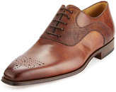 Magnanni Vekio Hand-Antiqued Leather Lace-Up Oxford, Tobacco
