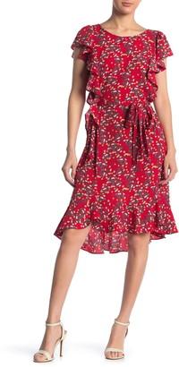 Max Studio Printed Flutter Sleeve Tie Waist Dress