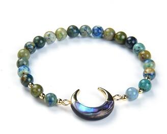 Eye Candy Los Angeles Natural Chrysocolla Bead Bracelet Abalone Shell Crescent Charm Bracelet