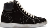 Saint Laurent Black Suede Antibes High-Top Sneakers