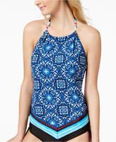 24th & Ocean Viva La Frida Printed Handkerchief High-Neck Halter Tankini Top Women's Swimsuit