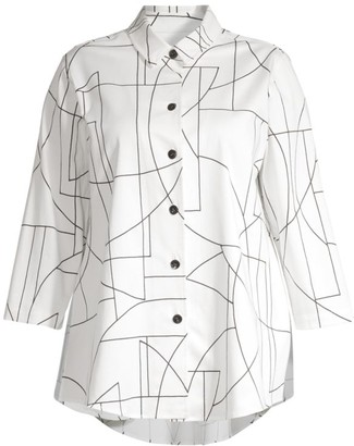 Caroline Rose Ready, Set, Summer Sketch-Print Button-Front Shirt