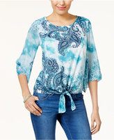 JM Collection Embellished Printed Tie-Front Top, Created for Macy's