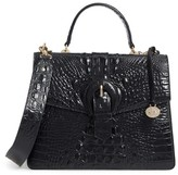 Brahmin Melbourne Gabriella Embossed Leather Satchel - Black