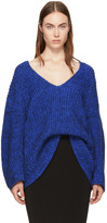 Alexander Wang Blue Bracelet Sleeve V-Neck Sweater