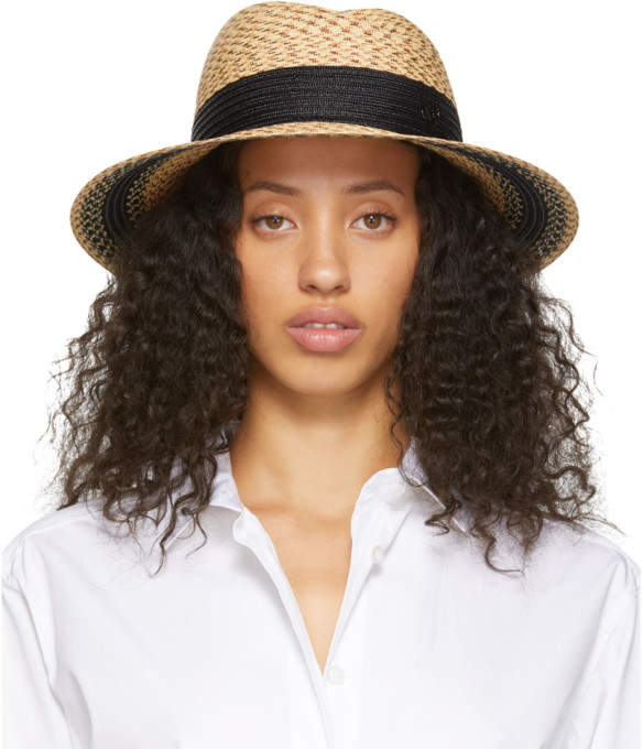 nouveau authentique comment trouver performance fiable Beige and Black Straw Virginie Fedora