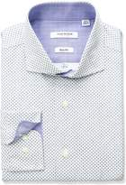 Isaac Mizrahi Men's Slim Fit Printed Square Diamond Cut Away Collar Dress Shirt