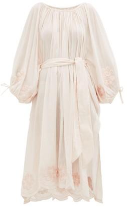 Innika Choo Embroidered Cotton Dress - Womens - Light Pink