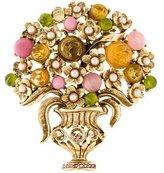 Oscar de la Renta Floral Vase Brooch