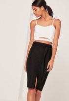 Missguided Tie Front Ribbed Midi Skirt Black