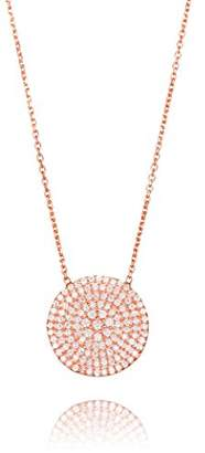Ingenious Jewellery Sterling Silver Rose Gold Plated Necklace with Large Pave Circle Pendant of 41.5-45cm
