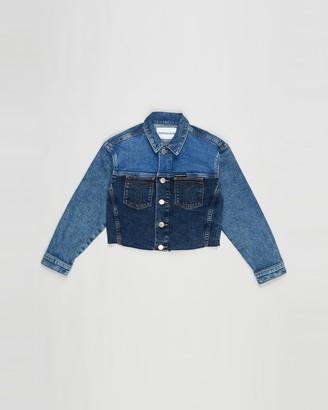 Calvin Klein Jeans Girl's Blue Denim jacket - Trucker Denim Jacket - Teens - Size 8 YRS at The Iconic