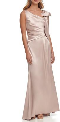 Eliza J Pleated Sleeveless Satin Gown